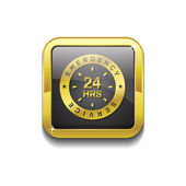 24 Hours Emergeny Servie Gold Vector Icon — Stock Vector