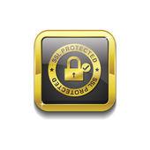 Ssl 保護された金のベクター アイコン ボタン — ストックベクタ