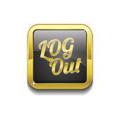 Log Out Gold Vector Icon Button — Stock Vector