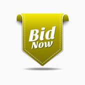 Bid Now Icon Design — Stock Vector