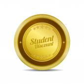 Student Discount Icon Button — Stock Vector