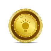 Bulb Icon Button — Stock Vector