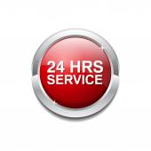 24 Hours Service Icon Button — Stock Vector