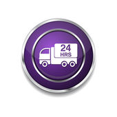 24 Hours Delivery Icon Button — Stock Vector