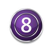 8 Number Icon Button — Vector de stock