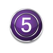 5 Number Icon Button — Vector de stock