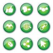 Social Internet Button Icon — Vettoriale Stock