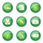 Hospital Health Button Icon — Stock Vector