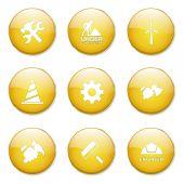 Construction Tools Button Icon — Stock Vector
