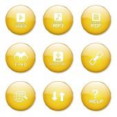 Ikona przycisku multimedialne sieci Internet — Wektor stockowy