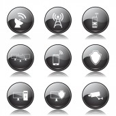 Conjunto de ícones de comunicação Telecom — Vetor de Stock