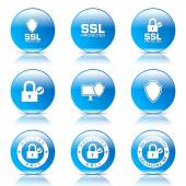 Protection Web Internet Icon Set — Stock Vector