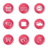 Shopping Sign Icon Set — Vector de stock