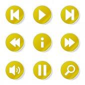 Multimedia Controller Icon Set — Stock Vector