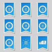 24 Hours Services Icon Set — Stock Vector