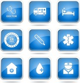 Ziekenhuis gezondheid pictogrammenset — Stockvector