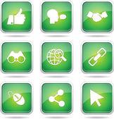 Set di icone sociali internet — Vettoriale Stock