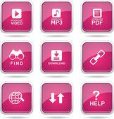 Multimedia Web Internet Icon Set — Stockvektor