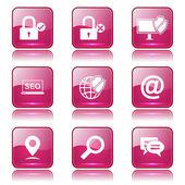 SEO internet işareti Icon set — Stok Vektör