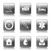 Szpital zdrowie zestaw ikon — Wektor stockowy