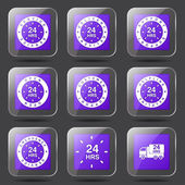 24 Hours Services Icon Set — Wektor stockowy