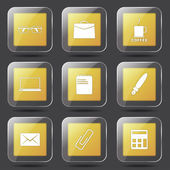 Office Work Icon Set — Stock Vector