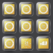 24 Hours Services Icon Set — Stock vektor