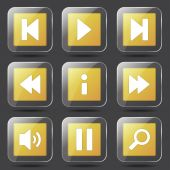 Controlador multimedia icon set — Vector de stock