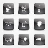 Conjunto de iconos de comunicación de Telecom — Vector de stock
