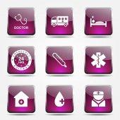 Hospital Health Icon Set — Stock Vector