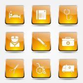 Hospital Health Icon Set — Stock vektor