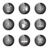 Telecom Communication Icon Set — Stock Vector
