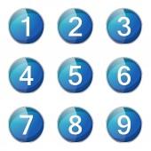 Números contando o conjunto de ícones — Vetor de Stock