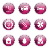 Hospital Health Icon Set — Stock Vector