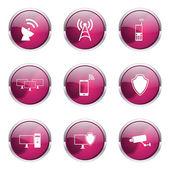Sada šablon ikonu komunikace Telecom — Stock vektor