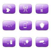 Telekom-Kommunikation-Icon-set — Stockvektor