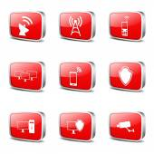 Telecom Communication Icon Set — Stock Vector