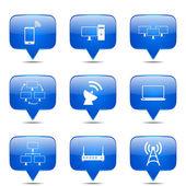 Insieme dell'icona di comunicazione Telecom — Vettoriale Stock