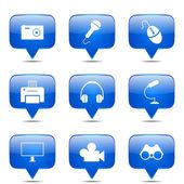 Jeu d'icônes de matériel électronique — Vecteur