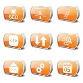 Seo internet-zeichen-icon-set — Stockvektor