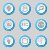 Seo Internet tecken blå ikoner — Stockvektor
