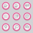 SEO Internet Sign Pink Button Icons — Stock Vector #77832786