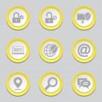 SEO Internet Sign Yellow Button Icons — Stock Vector #77834552