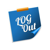 Log Out Blue Sticky Notes — Stock Vector