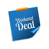 Weekend Deal Blue Sticky Notes — Stock Vector