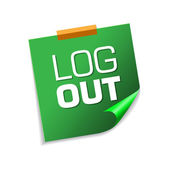 Log Out Green Sticky Notes — Stock Vector