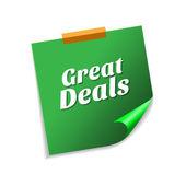 Great Deals zielone karteczki — Wektor stockowy