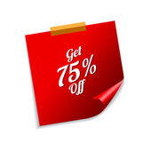 Получить 75% красный записки — Cтоковый вектор
