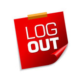 Log Out Red Sticky Notes — Stock Vector