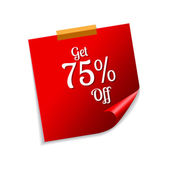 Get 75 Percent Red Sticky Notes — Stock Vector